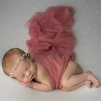 Wholesale knit cotton scarf for sale - Group buy Baby Photograph Scarf Newborn Hollow Out Photo Prop Wrapping Towel Wrap Knit Infant Blanket Posing Swaddle xd gg