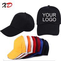 Wholesale custom logo hat embroidery - Custom baseball cap print logo text photo embroidery gorra casual solid hats pure color black cap Snapback caps for men women