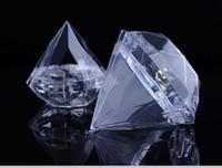 ingrosso abbigliamento scatola marrone-200pcs 7X7CM plastica trasparente bella forma di diamante contenitore di caramella scatole regalo bomboniera partito bomboniera regalo di nozze spedizione gratuita
