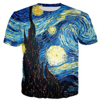 drying oil paintings 2018 - Harajuku Style T-shirt Men Women Vincent Van Gogh Oil Painting Starry Night Print 3d T Shirt Casual Tee Tops U779