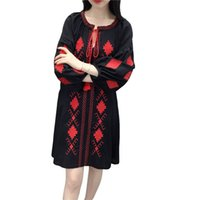 Wholesale White Long Sleeve Midi Dress - Autumn spring Cotton linen dress for women Loose Slim Embroidery Long sleeve dress White Black and Navy blue colors