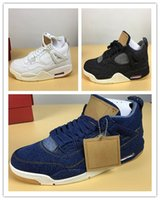 Wholesale Beading Jeans - New 4 X NRG jean blue White jeans men Basketball Shoes Sneakers 4s IV sports wholesale free shipping fashion with box us 8-13