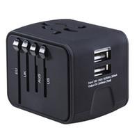 двойной usb-зарядное устройство для великобритании оптовых-Новый универсальный адаптер путешествия все-в-одном международное зарядное устройство 2.4 A Dual USB Worldwide Power Adapter Plug зарядное устройство для США Великобритания ЕС AU