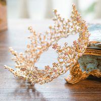 düğün balo saç aksesuarları toptan satış-Barok Altın Vintage Balo Parti Düğün Gelin Inci Pembe Kristal Rhinestone Yuvarlak Taç Tiaras Headbands Saç Aksesuarları Takı