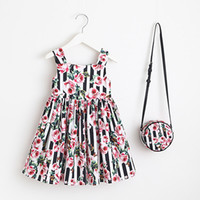 Wholesale Costume Bags - Girls Dress with Bag 2018 Brand Toddler Girl Summer Clothes Kids Costumes Floral Print Robe Princesse Fille Children Dress Kids