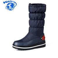 sapatos de patente de couro neve venda por atacado-HUANQIU Botas De Neve Para As Mulheres Sapatos de Plataforma de Couro de Patente de Alta Qualidade Borla Calçado Algodão Mid Bezerro Botas de Inverno wyq89