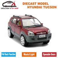 Wholesale hyundai car models online - 1 Scale Diecast Hyundai Tucson Model CM Alloy Car Boys Metal Toys With Gift Box Pull Back Function Light Sound