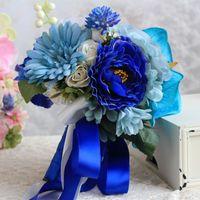ingrosso rose artificiali blu royal-JaneVini Royal Blue Wedding Bouquets 2018 Rose artificiali Fiori da sposa Bouquet da sposa Damigella d'onore Bouquet Ramo De Novia Para Boda