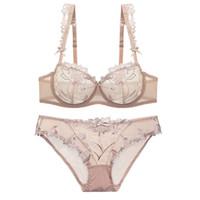 a411234093 wholesale Ultra-thin Transparent Lingerie Bra Set Sexy Push Up Underwear  Plus Size Deep V Women Bralette Young Girl Bra Set