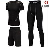 jungen lycra hose groihandel-Mens Compression T-Shirts + Fitness Pant Sets Männer dünne Leggings Boy Base T-Shirts Workout Bodybuidling Trainingsanzüge