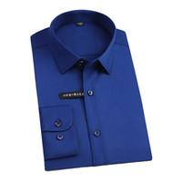 бамбуковые рубашки для бизнеса оптовых-2018 Trendy Soft Comfortable Fabric Solid Color Business Men Dress Shirts Elastic Bamboo Fiber  Non-iron Formal Shirts Men