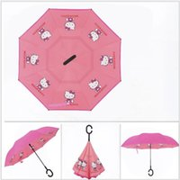 Wholesale Kawaii Fabric Wholesale - 2018 New Design 24 Colors Carton Pattern Windproof Reverse Umbrella Double Layer Kawaii Inverted Umbrellas C Handle Umbrellas For Car