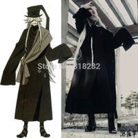 kahya kostümleri toptan satış-Siyah Butler Kuroshitsuji Undertaker Dış Giyim Kaban Ceket Ile Palto Üniforma Kıyafet Anime Cosplay Kostüm Şapka