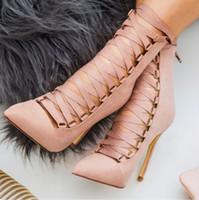 zipper back shoes venda por atacado-Sexy Cross-amarrado ankle boots mulheres dedo apontado de salto alto botas de verão lace up voltar zipper Boate sapatos femininos sapatos de salto fino