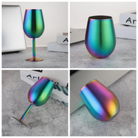 Wholesale Red Flasks - Stainless Steel Rainbow Cups 9oz 10oz Goblet Wine Mugs Colorful Insulated Vacuum Flask Durable Red Wine Drinking Egg Cups OOA3830