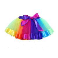 ingrosso filato azzurro-Vestiti all'ingrosso dei bambini, vestito netto dalla maglia dei bambini del vestito dall'arcobaleno, vestito dal tutu, molla delle ragazze, 6 colori, trasporto libero