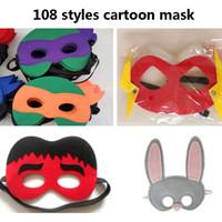 dessins pour masque pour les yeux achat en gros de-Halloween Cosplay Masques 108 Conceptions de Bande Dessinée Masque de Feutre Costume Partie Masquerade Masque Pour Les Yeux Enfants Enfants De Noël Cadeaux D'anniversaire HH7-951