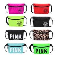 Wholesale wholesale suede purses - 12 colors Pink Letter Fanny Pack Love Pink Waist Bags Waterproof Nylon Beach Bag Women Purses Sports Handbags Outdoor Cosmetic Bags 3 Colors