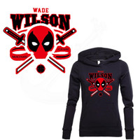 Wholesale T Shirt Heat Transfers - 2018 NEW HERO Deadpool Stickers 27*25cm Iron On Patches DIY T-shirt Sweater Heat transfer Patch for clothing