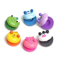 Wholesale clapper toy online - Animal Shape Wooden Castanet Cartoon Round Dance Board Musical Instrument Children Preschool Early Educational Toys mf C R
