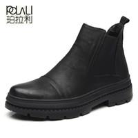 Wholesale snow boots men zipper - POLALI 2017 Autumn Winter vlevet Retro Men Boots Comfortable Zipper Brand Casual Shoes Split Leather Snow Boots shoes