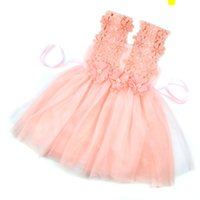 Wholesale Tulle Skirt Baby Girl - New Baby Girls Party Lace Tulle Flower Gown Fancy Bridesmaid Dress Sundress Girls Dresses Little Girl Princess Tutu Gown Hollow Lace Skirt