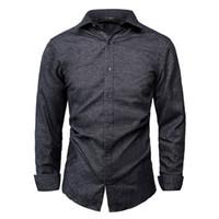 modelos tops largos al por mayor-GustOmerD 2018 Nueva moda manga larga camisa masculina Tops Color sólido Camisas de vestir para hombre Camisa delgada de los hombres Camisas masculinas Modelo