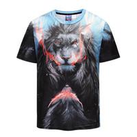 ingrosso grande stampa 3d-Uomo grande codice wrath leone stampato in 3D T-shirt street dress code breve girocollo popolare logo giacca casual sport mezza manica.