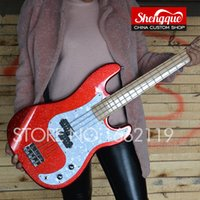 Wholesale custom shop maple fingerboard for sale - factory custom P bass string red color electric bass guitar with maple fingerboard basswood body instrument shop