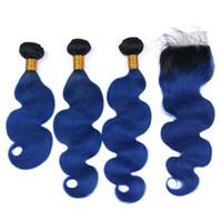bakire brezilya saç mavisi toptan satış-Siyah ve Koyu Mavi Bakire Brezilyalı İnsan Saç Örgüleri Dantel Kapatma ile 4x4 Vücut Dalga # 1B / Mavi Ombre En Kapatma ile 3 Demetleri