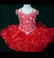 mini rotes organza kleid großhandel-Red Girls Pageant Kleider Ballkleid Organza Perlen Pailletten Tutu Röcke Mädchen Cupcake Prom Party Kleider Formelle Anlässe Kleider