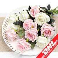 ingrosso casa della decorazione del fiore per il compleanno-Fresh Rose Real Touch Fiori artificiali Fiori di rosa Decorazioni per la casa per la festa di compleanno Fiore di stoffa