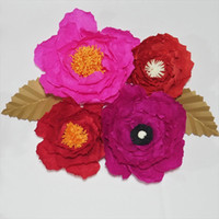 Wholesale baby giants - Giant Crepe Paper Artificial Flowers 4PCS For Wedding & Event Decor Baby Nursery Windows Display Handmade Crafts Customize