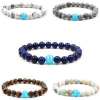 ingrosso bracciali opali bianchi naturali-2019 nuovo 10mm blu opale braccialetto pietra naturale bianco turchese amanti dello yoga braccialetti partito per amico regalo
