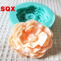 Wholesale 3d chocolate rose mold - Handmade Baking Tools Round Soft Wear Resistant Chocolate Mold 3D Rose Flowers Silicone Cake Moulds Pink Green 3 5sq B