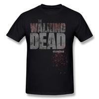 Wholesale Walking Dead Long Sleeve - Special Men 100% Cotton The Walking Dead Logo Tee Shirts Men Crew Neck Grey Short Sleeve T Shirts Big Size Geek Tee Shirts