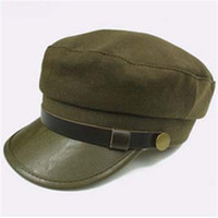 chapeaux britanniques pour les hommes achat en gros de-Style britannique marine cap pu bord hommes et femmes mode rétro toit plat étudiant chapeau avec boucle de cuivre 16dt ww
