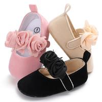 bebekler için düşmüş ayakkabılar toptan satış-2018 yeni sonbahar çiçek tarzı pamuk farbic bebek mokasen ayakkabılar bebek kız prenses elbise ayakkabı mary jane sevimli 0-18 M