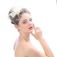 Wholesale veiled faced hats resale online - New Arrival Bridal Net Feather Hats White Hat Veil Bridal Flower Feathers Fascinator Bride Face Veils Wedding bride Hats