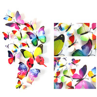 Wholesale Appliance Switches - New 12pcs lot Single Layer Wing 3D Cinderella Butterfly Decoration with Magnet Removable Wall Stickers Decal Mural Appliance