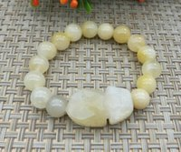 natürliche topas perlen großhandel-Topaz Armband Quarzit Jade Perlen Natural Gobi Jade Armband