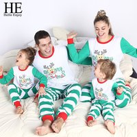 HE Hello Enjoy Christmas Family Pajamas Winter Mother Daughter Father Son  Matching Outfits Long Sleeve Stripe T-shirt+Pant Suits 29fad5206