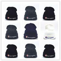 Wholesale cowboy hat crochet for sale - Group buy Good Quality beanies Knitted Hat Designer Champion Winter Warm Thick Beanie Fedora gorro Bonnet Skull Hats for Men women Crochet Skiing