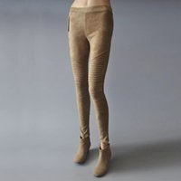 élastique plié achat en gros de-2017 automne hiver faux daim leggings plier taille haute rétro élastique stretch femme mince pantalon crayon plus la taille