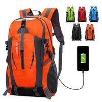 ingrosso zaini da viaggio leggeri-Zaino da escursione con zaini da campeggio arrampicata USB Zaino da alpinismo impermeabile da viaggio Zaino sportivo da esterno Imballante leggero