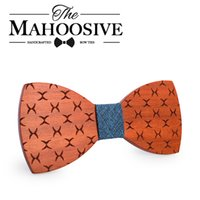 Wholesale butterfly mens tie resale online - Mahoosive Bowties Groom Normal Mens wood Cravat Gift For Men Butterfly Gravata Male Marriage Wedding Bow Ties