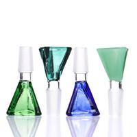 ingrosso giada di 18mm-Ciotola di vetro triangolare verde blu anatra verde giada 14mm / 18mm per tubo di vetro dell'acqua o bonger