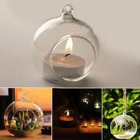 zuhause dekor kristalle großhandel-Kristallglas hängenden Kerzenhalter Candlestick Home Hochzeit Dinner Decor Runde Glas Luft Pflanze Blase Kristallkugeln