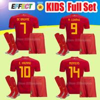 Wholesale Lavender Sets - 2018 World Cup Belgium Kids Kits Soccer Jersey Full Sets LUKAKU FELLAINI E.HAZARD KOMPANY DE BRUYNE Boys Child Youth football shirt Socks