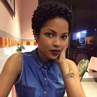 peluca india de las señoras al por mayor-NUEVA dama peluca rizada corta rizada indio brasileño Cabello africano Ameri Simulación cabello humano peluca rizada corta En stock